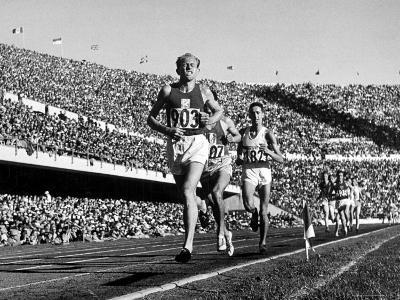 Czech Track and Field Gold Medalist Emil Zatopek, Leading Pack, Competing in 1952 Olympic Games