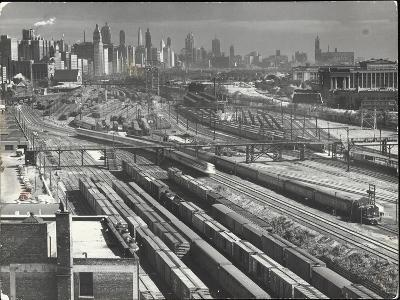 Aerial View Overlooking Network of Tracks for 20 Major Railroads Converging on Union Station