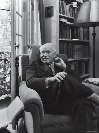 Swiss Psychiatrist Dr. Carl Jung Relaxing in an Easy Chair in His Library at Home