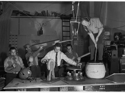 Technicians in Sound Production Room at Walt Disney Studio Using Hanging Mikes and Handheld Boom