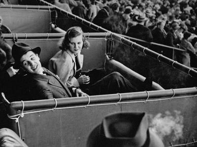 Alfred G. Vanderbilt and Alice G. Preston Sitting in a Grandstand Box at the Santa Anita Racetrack