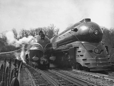 "British Train, ""Coronation Scot"" alongside American Locomotives"