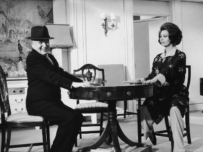 "Charlie Chaplin Directing Actress Sophia Loren in Scene from Movie ""A Countess from Hong Kong"""