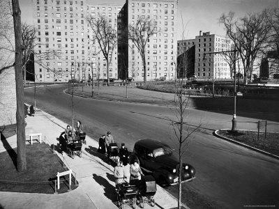 Women and Couples Walking Babies in Carriage in Parkchester Housing Development in the Bronx