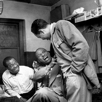 Billy Eckstine backstage with ex-boss, orchestra leader Earl Hines and trumpeter Louis Armstrong