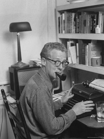 Excellent of Pulitzer Prize Winning Journalist Murray Kempton Smoking Pipe at Typewriter