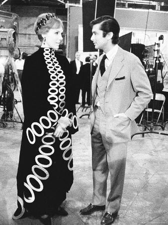 Actress Julie Andrews with Producer Robert Evans, VP of Paramount Talking in Studio