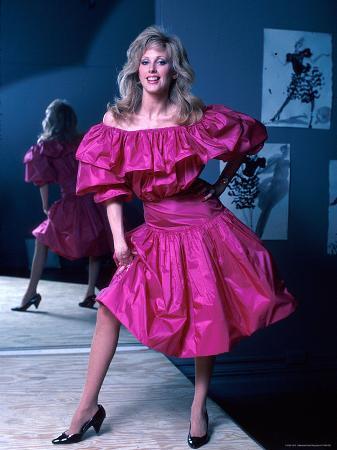 Actress Morgan Fairchild Wearing Pink Dress, Reflected by Mirror