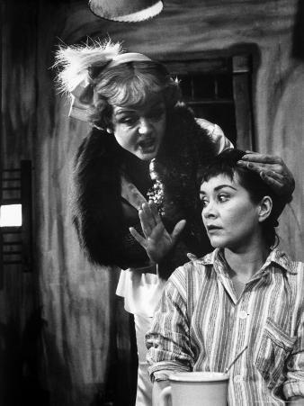 "Actors Angela Lansbury and Joan Plowright in Scene From Broadway Play ""A Taste of Honey"""