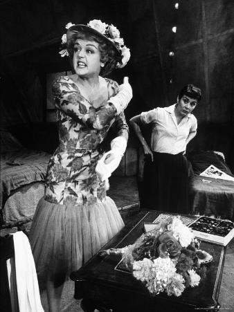 """Actors Angela Lansbury and Joan Plowright in Scene From Broadway Play """"A Taste of Honey"""""""