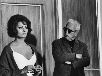"""Charlie Chaplin Directing Actress Sophia Loren in Scene from Movie """"A Countess from Hong Kong"""""""