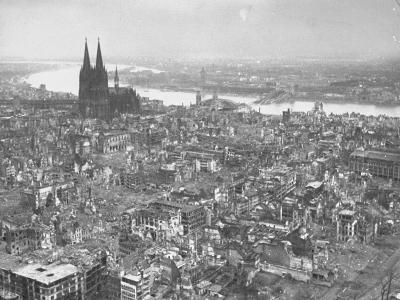 Aerial View of Cologne Showing Devastation of Allied Air Raids, Cathedral and Rhine River
