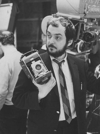 """Film Director Stanley Kubrick Holding Polaroid Camera During Filming of """"2001: A Space Odyssey"""""""