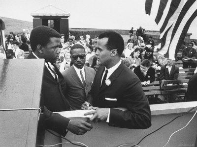 Sidney Poitier with Harry Belafonte, and Southern Sit in Leader Bernard Lee, at Civil Rights Rally