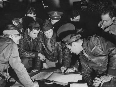 B-17 Bomber Navigators of the 8th Bomber Command at Airdrome in Southern England