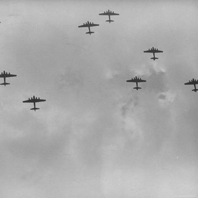 US 8th Bomber Command B-17 Flying Fortress Bombers Getting Into Formation