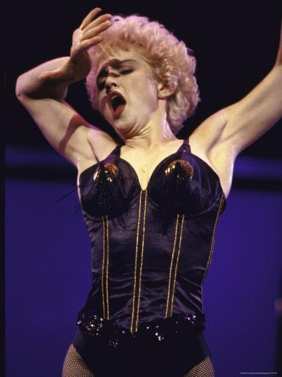 Pop Star Madonna Wearing Skimpy Lingerie While Performing