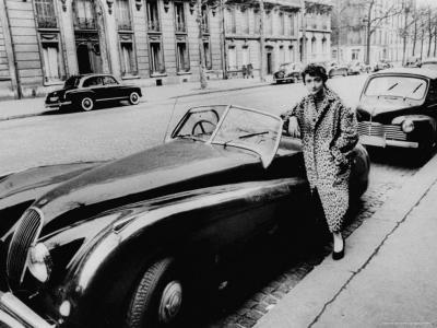 Authoress Francoise Segan Standing Beside Her Jaguar