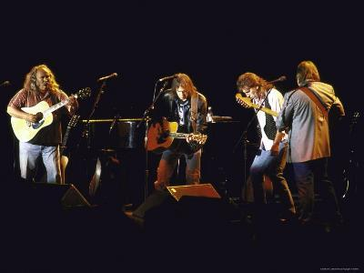 Musicians David Crosby, Neil Young, Graham Nash and Stephen Stills of Group Crosby Performing