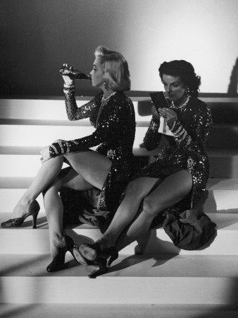 """Marilyn Monroe and Jane Russell During a Break While Filming """"Gentlemen Prefer Blondes"""""""