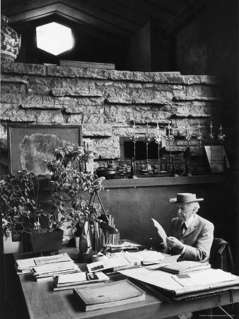 Architect Frank Lloyd Wright Working at Desk in His Home Taliesin