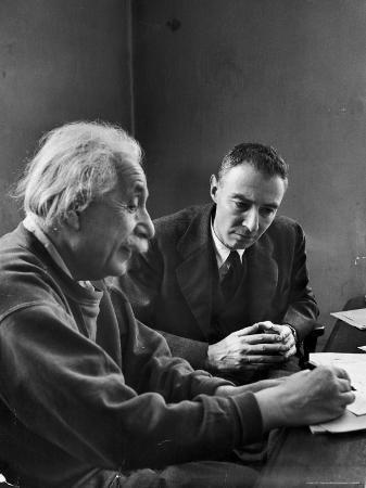 Physicist J. Robert Oppenheimer Discusses Theory of Matter with Famed Physicist Dr. Albert Einstein