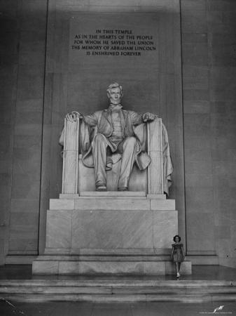 Actress Shirley Temple Standing Beside the Lincoln Memorial