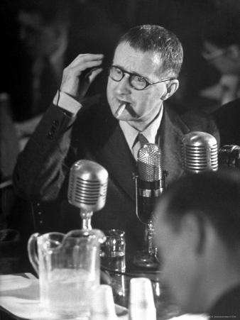 Berthold Brecht Smoking a Cigar During United Nations American Activities Hearing