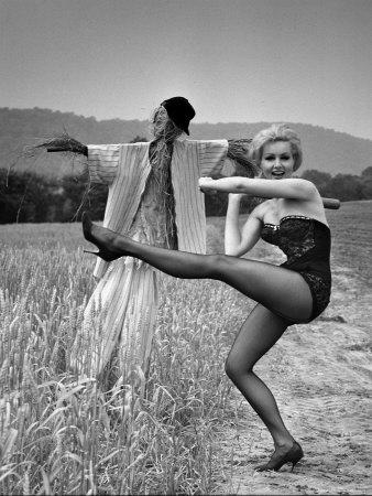 "Actress and Dancer Julie Newmar Warming Up for Her Devil's Role in the Musical ""Damn Yankees"""