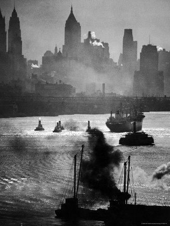 Ship and Tug Boat Traffic on the Hudson River with New York City Skyline