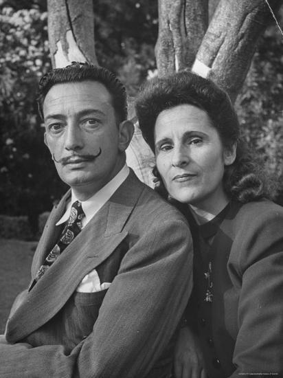 Surrealist Artist Salvador Dali with His Wife Gala in a Garden