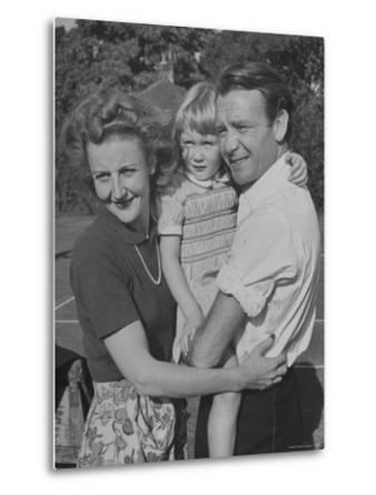 Actor John Mills Posing for a Picture with His Wife and Daughter Juliet