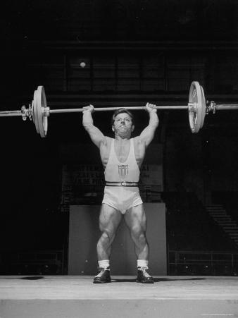 American Bantamweight Joseph Depietro Competing in Weightlifting Event at Summer Olympics