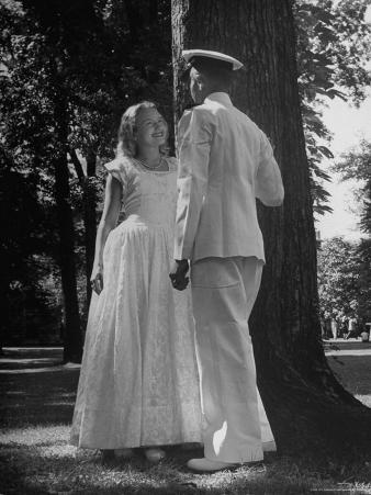 Beth Rhoads and Mike Ames Engaged at Annapolis Week Before Her Graduation at Monticello College