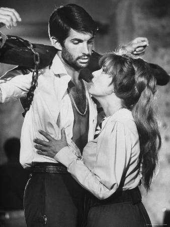 Actors Jeanne Moreau and George Hamilton Shooting Film
