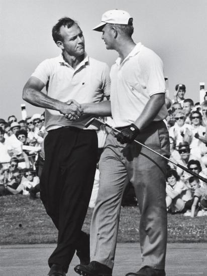Golfer Jack Nicklaus And Arnold Palmer During National Open Tournament Premium