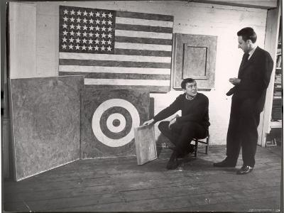 Jasper Johns Speaking with Man While Setting Up Some of His Work in His Studio