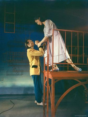 "Larry Kert and Carol Lawrence in Fire Escape Scene from ""West Side Story."""