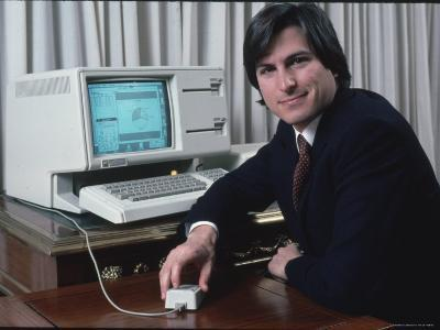 Apple Computer Chairman Steve Jobs with New Lisa Computer During Press Preview