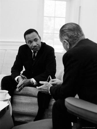 Civil Right Leader Dr. Martin Luther King Speaking with President Lyndon Johnson