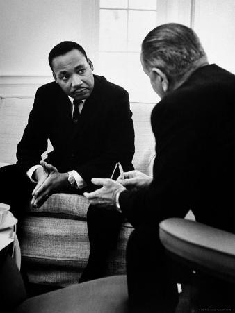 Civil Rights Leader Dr Martin Luther King with Pres. Lyndon Johnson During Visit to the White House