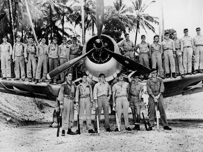 Marines of Famed VMF-214 Black Sheep Squadron Wearing Baseball Caps Given by St. Louis Cardinals S