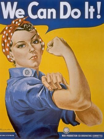 """WWII Patriotic """"We Can Do It"""" Poster by J. Howard Miller Featuring Woman Factory Workers"""
