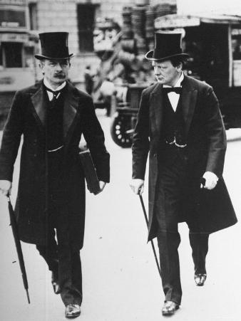 David Lloyd George and Winston Churchill Walking Together, Both Wearing Top Hats and Waistcoats