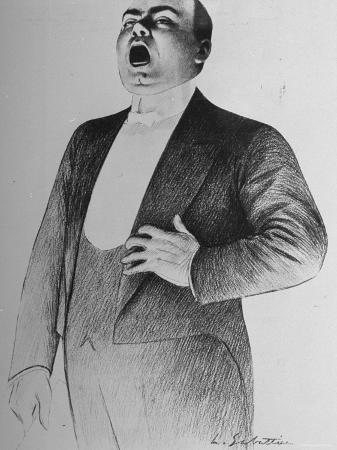 Drawing by L. Sabattier of Enrico Caruso Singing at Charity Soiree