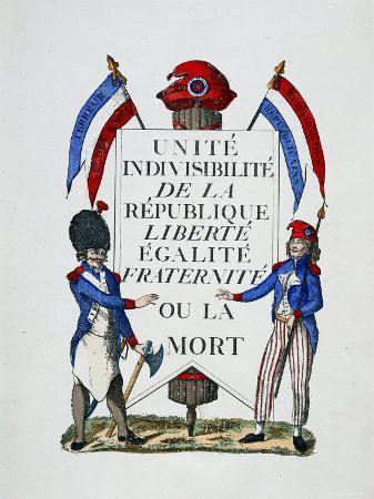 """Revolutionary Text """"Unite, Indivisibilite de La Republic Liberte, Egalite, Fraternite Ou La Morte."""""""