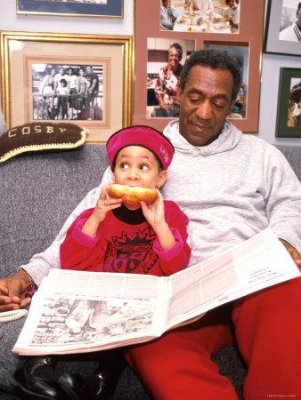 Raven Symone and Bill Cosby on Set of Their Television Series, The Cosby Show