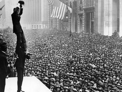 Douglas Fairbanks and Charlie Chaplin in Front of Crowd to Promote Liberty Bonds, New York City