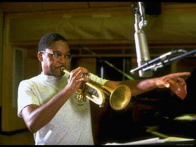 Trumpeter Wynton Marsalis Playing His Instrument, at Recording Session