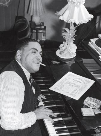 Jazz Pianist Fats Waller Playing Piano with Cigarette Hanging Out of Mouth, at Home